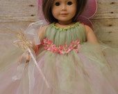 tink fairy doll dress, tink costume doll, doll costume, dress for dolls, matching dress for dolls, american doll colthes handmade