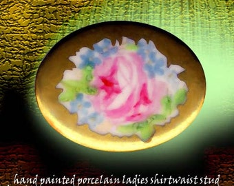 Stud ~ Richly Hand-painted Rose & Forget-me-not ~ Love and Remembrance