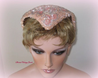 Vintage Sequin  Cocktail Hat  1950s Rockabilly Dreamy   Pale Pink