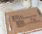 """Burlap Table Placemats  """"Farmhouse Blessings""""  Kitchen Farmhouse Style Country Cottage Chic Rustic Ruffle"""