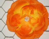 Beautiful Orange Hair Flower Rose Hair Flower with Jewel Center and Layers of Tulle