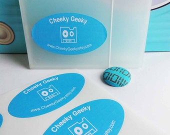Oval Sticky Labels, custom envelope seals, party favour stickers, coloured background (60mm x 34mm)