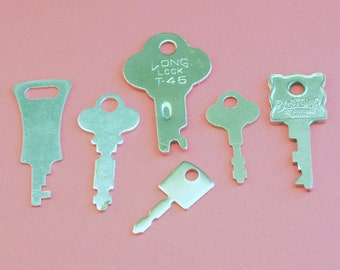 6 Vintage and Contemporary Suitcase Keys // Miniature Keys // Steampunk Supply // Instant Collection