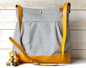 BEST SELLER Diaper bag / Messenger bag STOCKHOLM Gray  geometric nautical striped  Mustard Leather