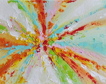 Original Abstract Painting Colorful Rainbow Wall Art 7x9""