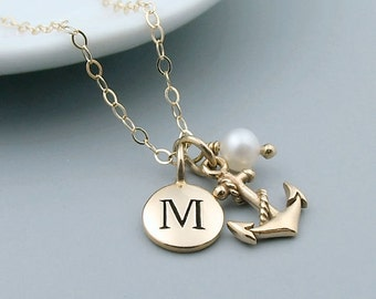 Gold Anchor Necklace, Personalized Initial Jewelry, 14k gold fill, Navy Wife, Sailor Necklace,