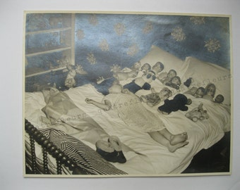 Vintage Photo Little Girl Napping with Her Dolls and Bears