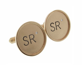 Solid Gold Rimmed Cuff Links with Diamonds Personalized 14K Hand Stamped Initials Names Custom Commemorative Men's Jewelry Engraved Artisan