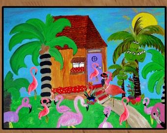 Yard Flamingos indoor-outdoor area rug,  Floor Mat. Available in 3 sizes