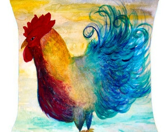 Sassy Rooster art throw pillow
