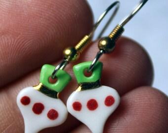 Ornament Christmas Dangle Earrings Handmade Porcelain Ceramic Jewelry