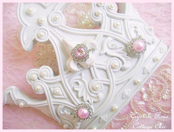 Shabby chic wall bed crown white pink bling romantic home for Couronne shabby chic
