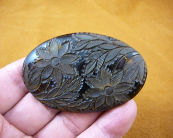 Vintage daisy flowers flower Bakelite black mourning oval shaped CAMEO pin brooch c1558