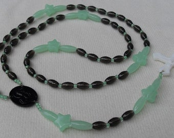 Rosary or Necklace for Boys Glow in the Dark Beads and Crucifix No Metal Used Safe for Hospital Stays