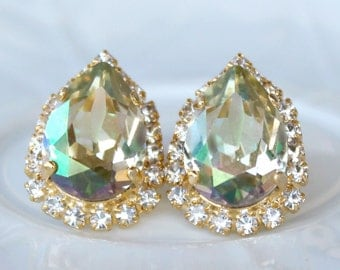 Luminous Green Swarovski Crystal Teardrops Framed with Halo Crystals on Gold Post Earrings, Halo Earrings