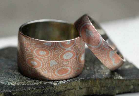 Mokume Gane His and Hers Wedding Band Rings in Argentium Silver and Copper- Made to Order Wedding Ring Set
