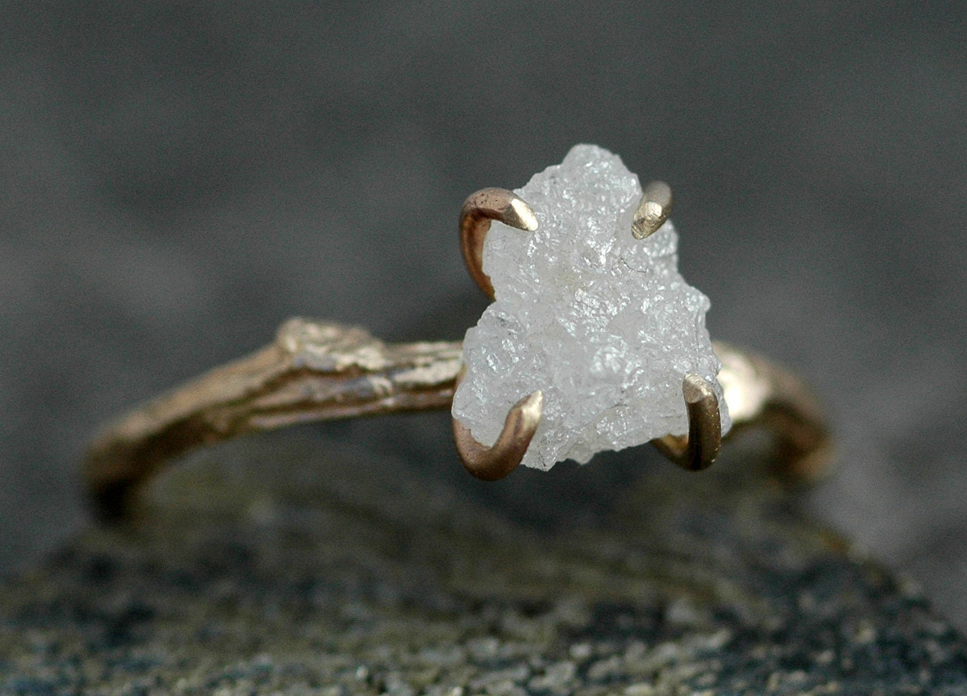 rough diamond and 14k gold branch ring branch wedding ring Rough Diamond and 14k Gold Branch Ring Twig Band Custom Made Wedding or Engagement Ring in Yellow White or Rose Gold