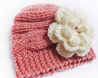 Knit  Baby Hat- Knit Children Hat- Baby Girl Knit Hat with Flower