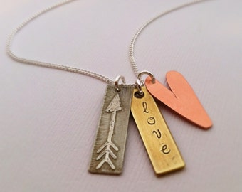 Love 3 Charm Mixed Metal Necklace