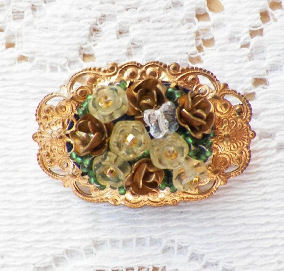 Light Golden Yellow Glass Bead / Flowers Flower and Brass Rose / Roses Beaded Brooch / Pin  with Tiny Crystal Butterfly Victorian, Handmade