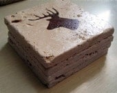 Rustic COASTER SET Deer Head Hunting Woodland on stone coasters - Travertine Tumbled Stone