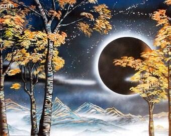 Zebra Aspens (Number 6) - Surreal Landscape Night Aspen Tree Painting by Mizu - Denver Colorado