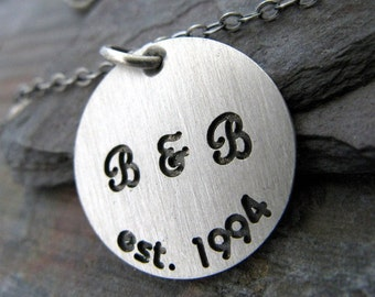 "Personalized sterling silver disc necklace.  Initials & date for couples.  Deep engraved brushed finish. Long chain up to 30""  Wedding gift."