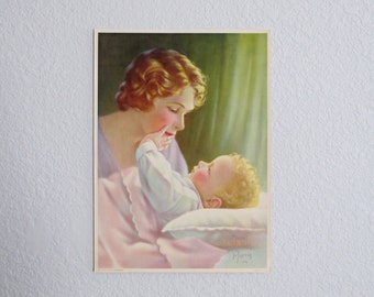Loves Caresses Mabel Rollins Harris Vintage Litho Poster Mother and Baby Blonde Curls Cottage Chic Nursery Decor