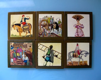 Vintage Bar Coasters Wood Cork Decoupage Colonial Antigua Montevideo Uruguay set of six 6