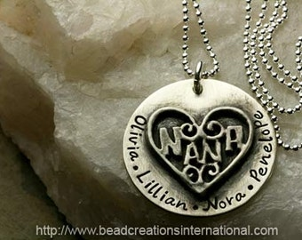 NEW Sterling Silver NANA Large Charm Soldered to a Sterling Silver Disc w/ 4 Names Hand Stamped Necklace