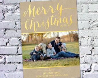 Photo Christmas Card : Gold Foil Faux Effect Merry Christmas Custom Photo Holiday Card Printable