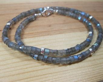 Labradorite Heishi, Sterling Silver Heishi Necklace, Heishi Necklace, Mens Beaded Necklace, Womens Beaded Necklace, Labradorite Necklace