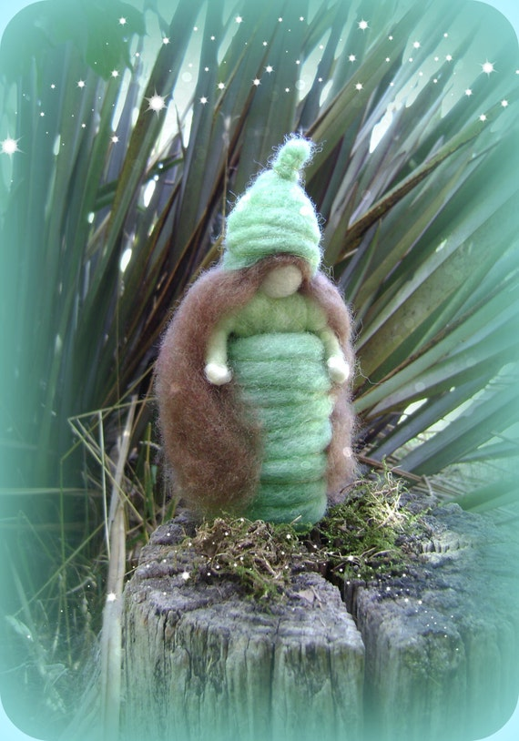 Waldorf Green Wool  Maid -  Needle felted in hand dyed New Zealand  wool -  Waldorf inspired art