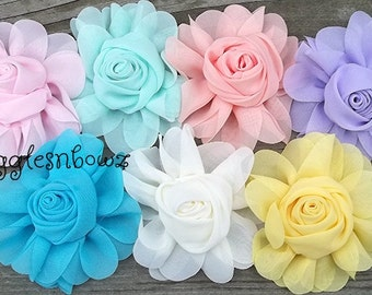 3 Inch Chiffon Rolled Rose with Ruffles- Chiffon Flowers- Choose your Colors/Quantity- Headband Flowers- Fabric Flowers- Diy Flowers