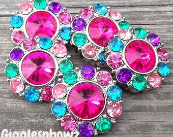 LaRGe RHiNeSToNe BuTToNS 30mm -Set of 5 SHoCKiNG PiNK RAiNBoW Plastic Acrylic Rhinestone Buttons