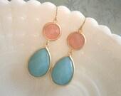 Mint Aqua Earrings, Pink Grapefruit Earrings, Gold Earrings, Statement Earrings