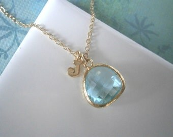 Personalized Necklace, Aquamarine Necklace, Blue Necklace, Gold Necklace, Letter Necklace, Initial Necklace, Pendant Necklace,