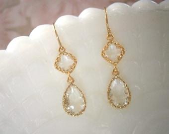 Clear Crystal Diamond Earrings, Gold Earrings,  Bridal Jewelry, Bridesmaid Earrings, Best Friend Birthday