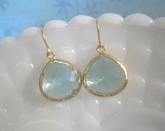 Mint Green Earrings, Gold Earrings, Jewelry Under 30, Gift for Her, Mother's Day