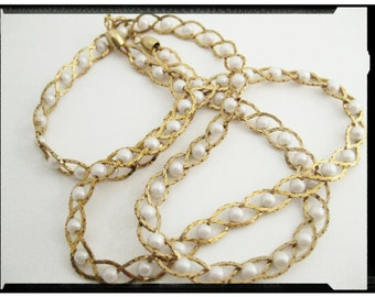 Gold Tone Braided TwIsTeD WoVeN Chain Necklace w/Captive White Faux Pearls - Everyday Jewelry / Costume Jewelry / Children Teenage Jewelry