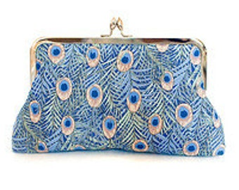 Peacock purse, evening clutch, blue bag, champagne silk, silver kisslock purse frame, feathers, teardrop, wedding clutch, bridal, made in uk