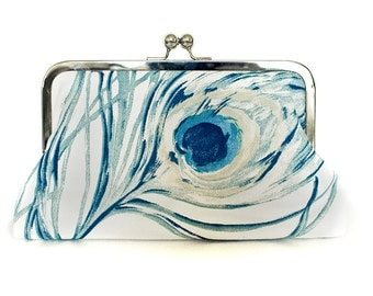Peacock Purse Clutch Blue Off White Large Size Modern Bridal Wedding  Clutch Made in England