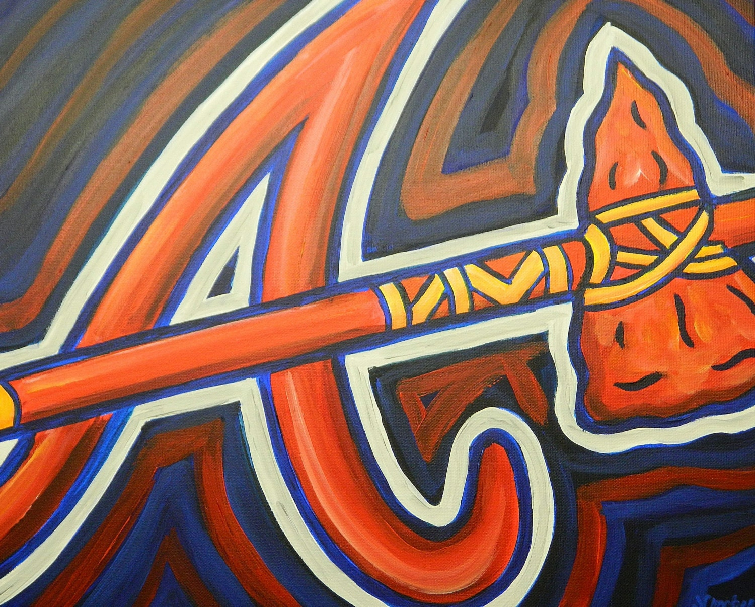 Atlanta braves painting sports art baseball by crockerart for Atlanta mural artist