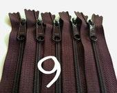 9 inch YKK handbag zippers, long pull, five pcs, 4.5 mm nylon coil, dark brown, YKK color 570, great for handbags, wristlets
