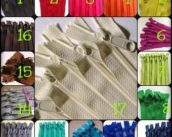 12 inch zippers, choose 25 handbag zippers with long pull - neutrals, red, pink, purple fuchsia, green, turquoise, aqua, orange, yellow