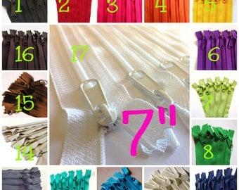 7 inch Handbag zippers with long pull, Choose 50 pcs - black, brown, navy, white, beige, aqua, purple, green, sunflower, orange, pink, red