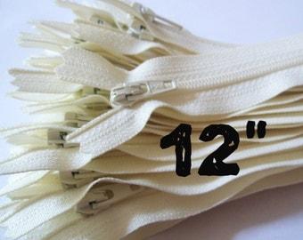 12 Inch vanilla YKK zippers, 25 pcs, ivory, off white, YKK color 121, dress, skirt, pouch zippers