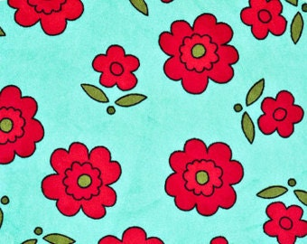 Lagoona Floret in Aqua Teal and Tomato Cuddle Minky Fabric - by Shannon Fabrics - Fat Halfs, 1,2,3,4,5 yds - Minky Sale