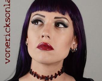 Zombie Necklace -Frankenstein Monster  Zombie Stitches  Choker Necklace Dark Red Thin Stitches