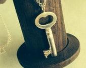 Sterling Silver Vintage Key Necklace UK Hallmarked